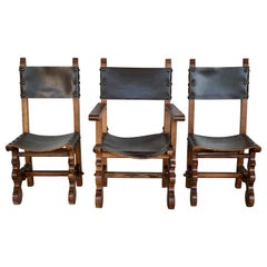 19th Century Set of Spanish Colonial Armchair and Two Chairs