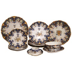 19th Century Set of Ten French Painted Faience Plates and Dishes from Normandy