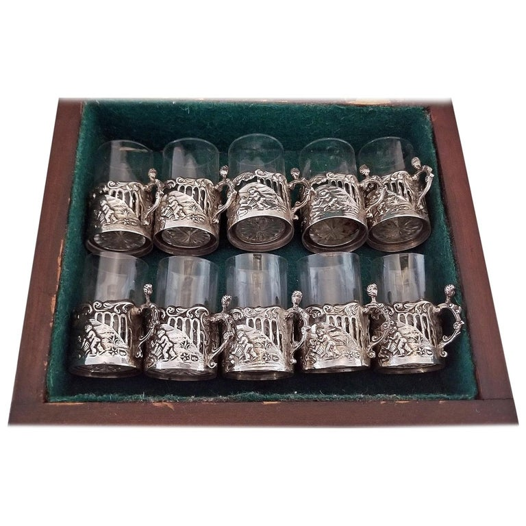 cff5478eca14 19th Century Set of Ten Sterling Silver Shot Glasses by W Comyn For Sale