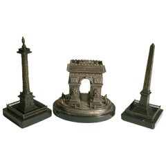 19th Century Set of Three Grand Tour Model Arc De Triomphe Luxor Obelisk Vendôme