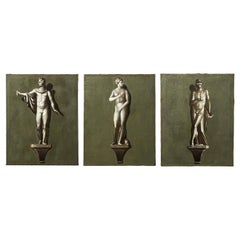 19th Century Set of Three Grisailles Paintings