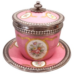 19th Century Sèvres Porcelain Lidded Cup With Sterling Silver Mount