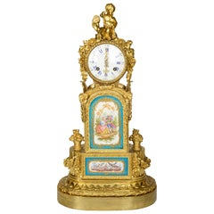 19th Century Sevres Style Gilded Ormolu Mantel Clock