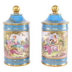 Large Pair 19th Century Sevres Style Porcelain Covered Jars