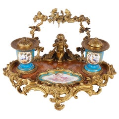 19th Century Sevres Style Ink Well
