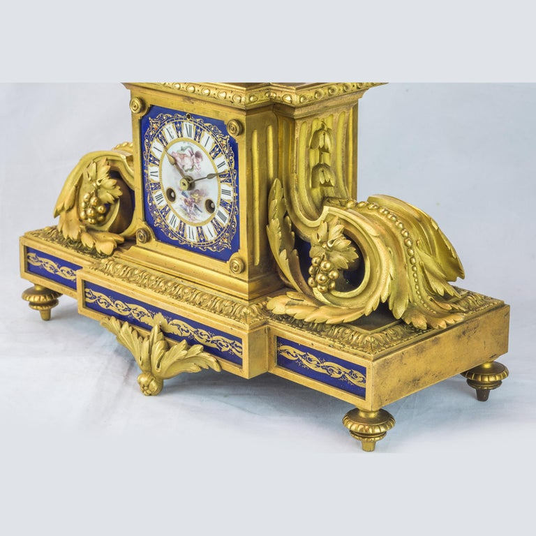 French 19th Century Sèvres Style Ormolu and Cobalt-Blue Painted Porcelain Clockset For Sale