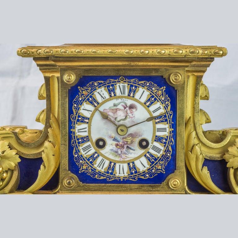 Bronze 19th Century Sèvres Style Ormolu and Cobalt-Blue Painted Porcelain Clockset For Sale