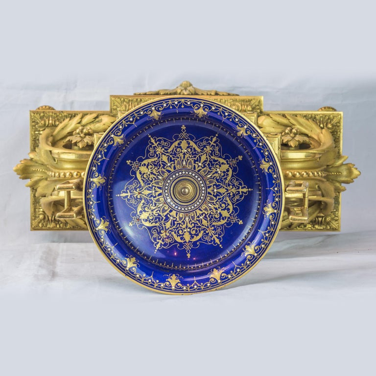 19th Century Sèvres Style Ormolu and Cobalt-Blue Painted Porcelain Clockset For Sale 1