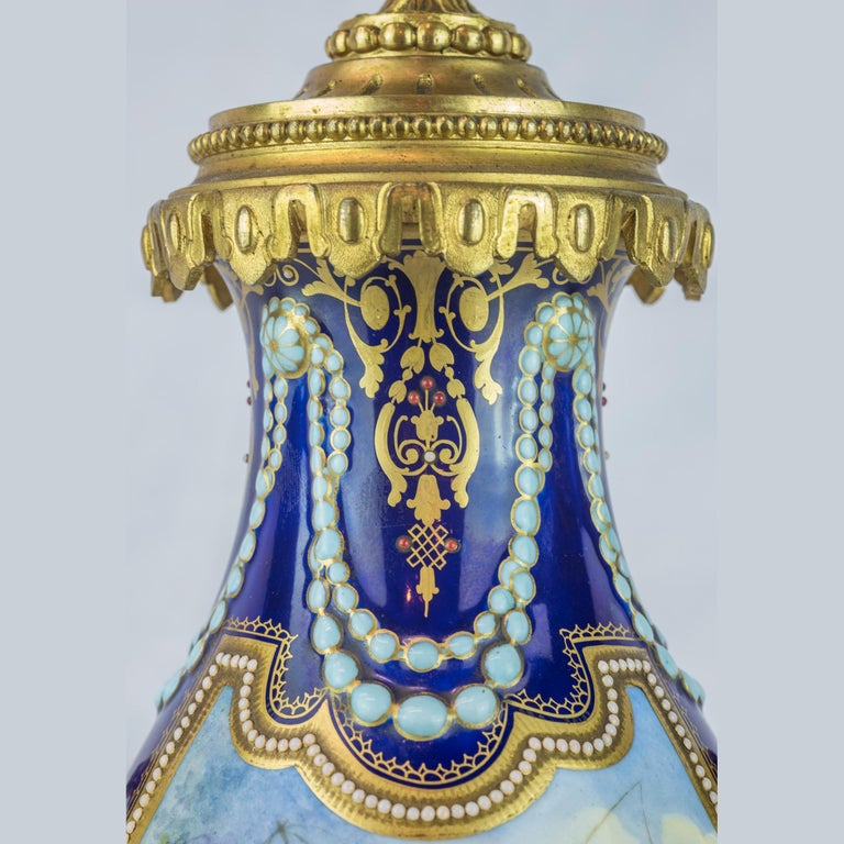 19th Century Sèvres Style Ormolu and Cobalt-Blue Painted Porcelain Clockset For Sale 3