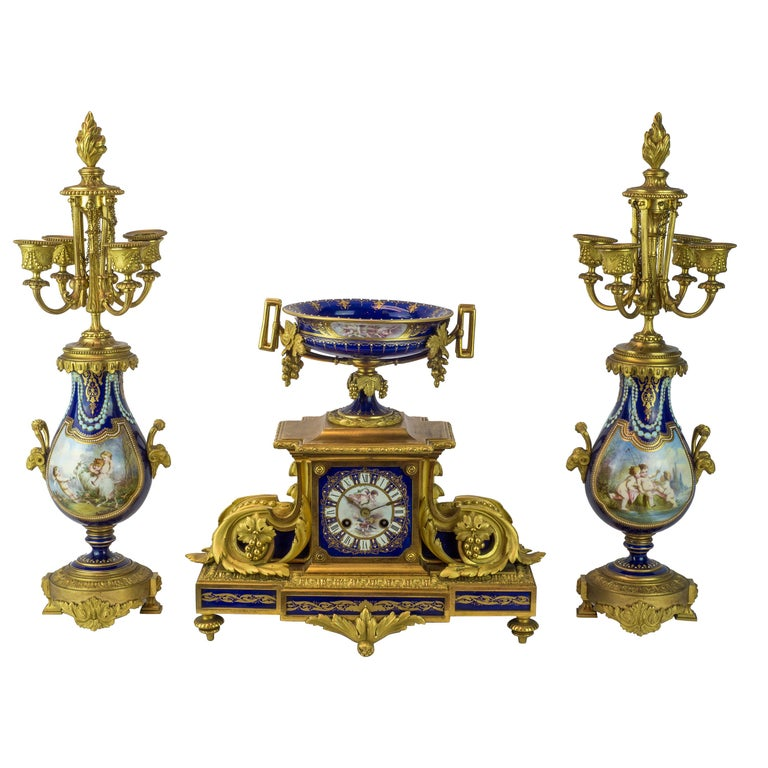 19th Century Sèvres Style Ormolu and Cobalt-Blue Painted Porcelain Clockset For Sale