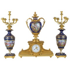 19th Century Sèvres Style Ormolu and Painted Porcelain Clock Set