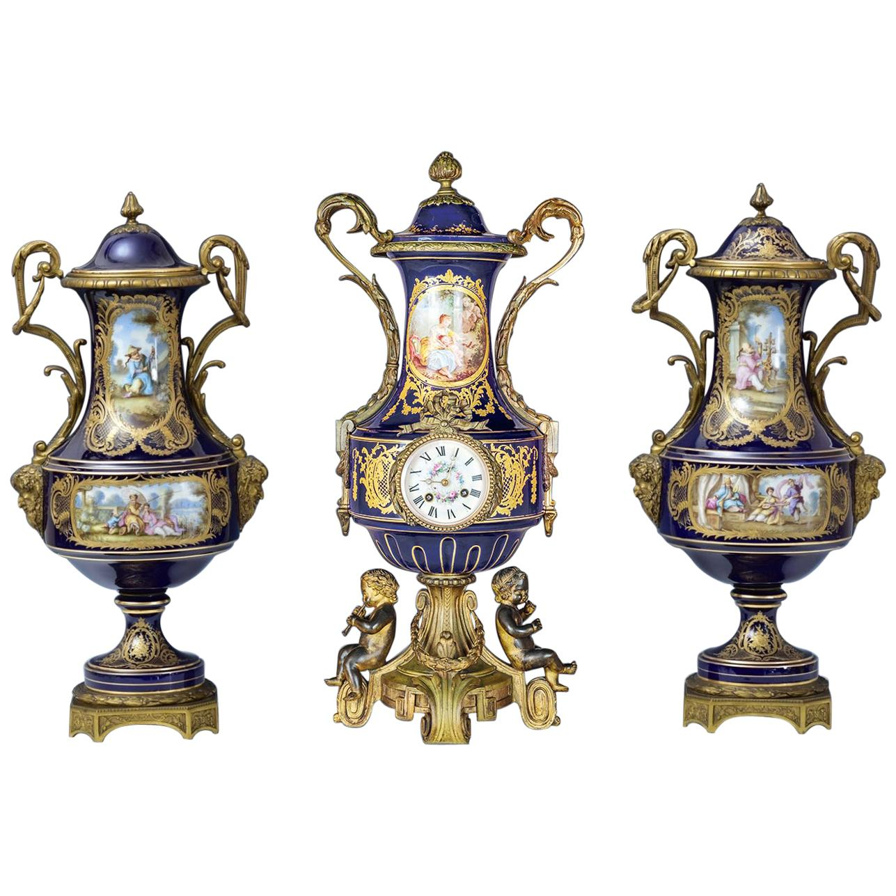 19th Century Sèvres Style Ormolu-Mounted Porcelain Figural Clockset