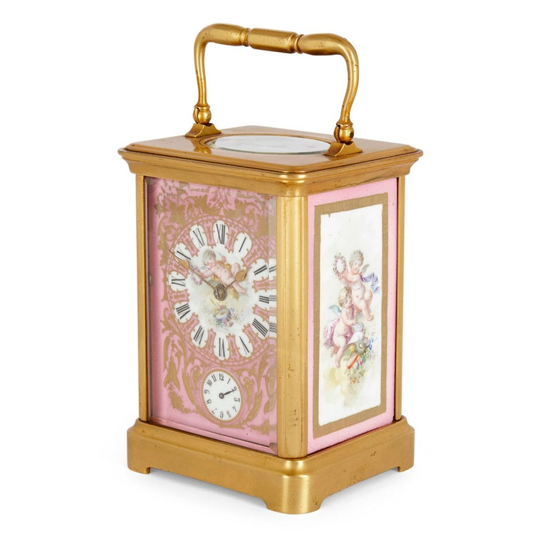 French Rococo Style Sevres Style Porcelain and Ormolu Carriage Clock For Sale