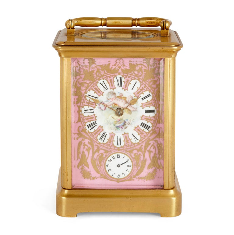 Gilt Rococo Style Sevres Style Porcelain and Ormolu Carriage Clock For Sale