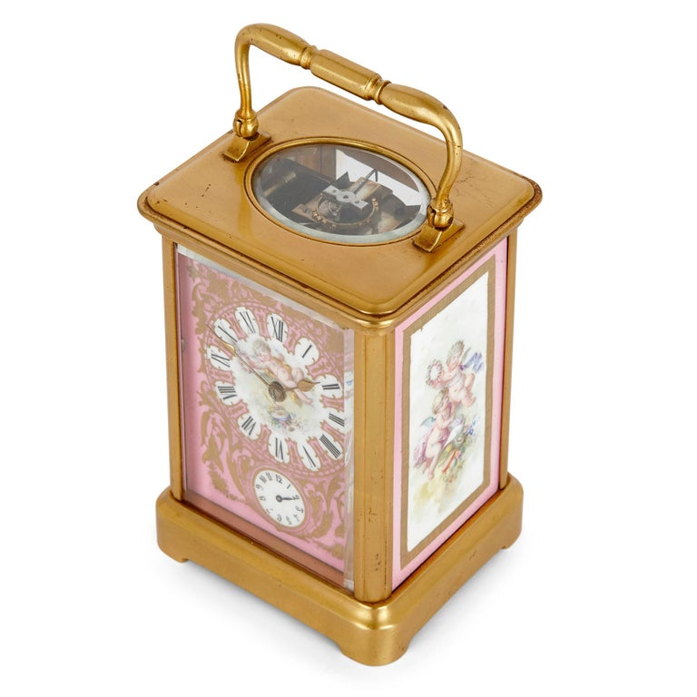 19th Century Rococo Style Sevres Style Porcelain and Ormolu Carriage Clock For Sale