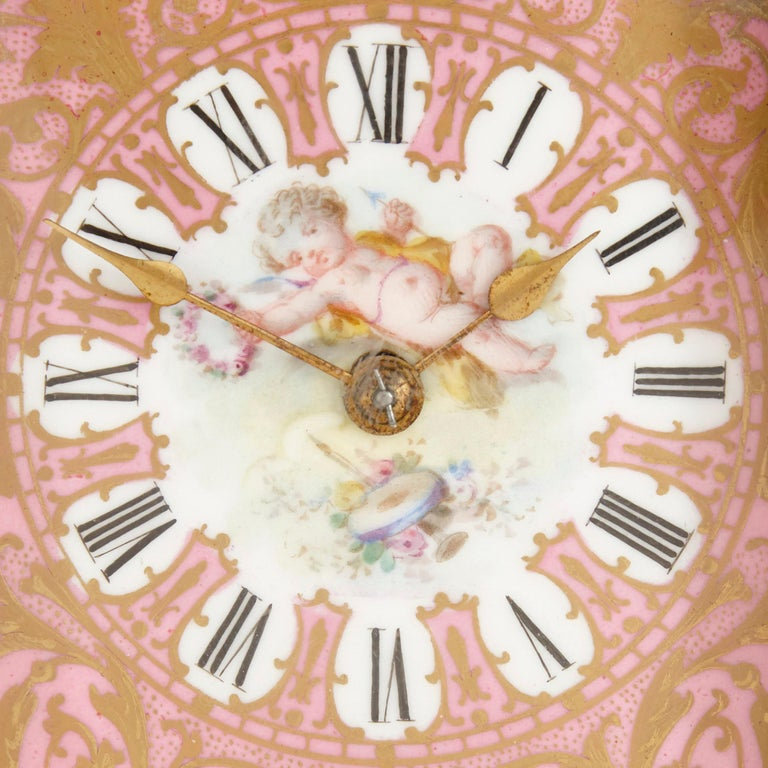 Bronze Rococo Style Sevres Style Porcelain and Ormolu Carriage Clock For Sale