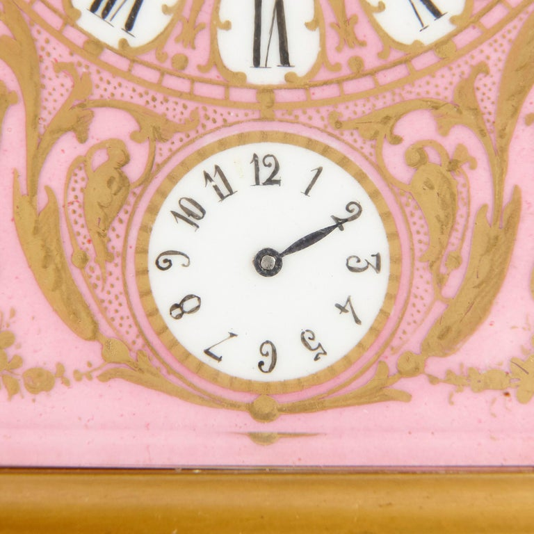 Rococo Style Sevres Style Porcelain and Ormolu Carriage Clock For Sale 1