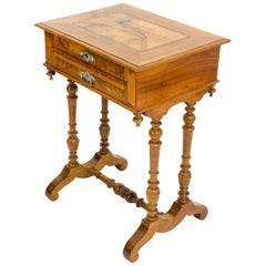 19th Century Sewing or Side Table Made of Walnut