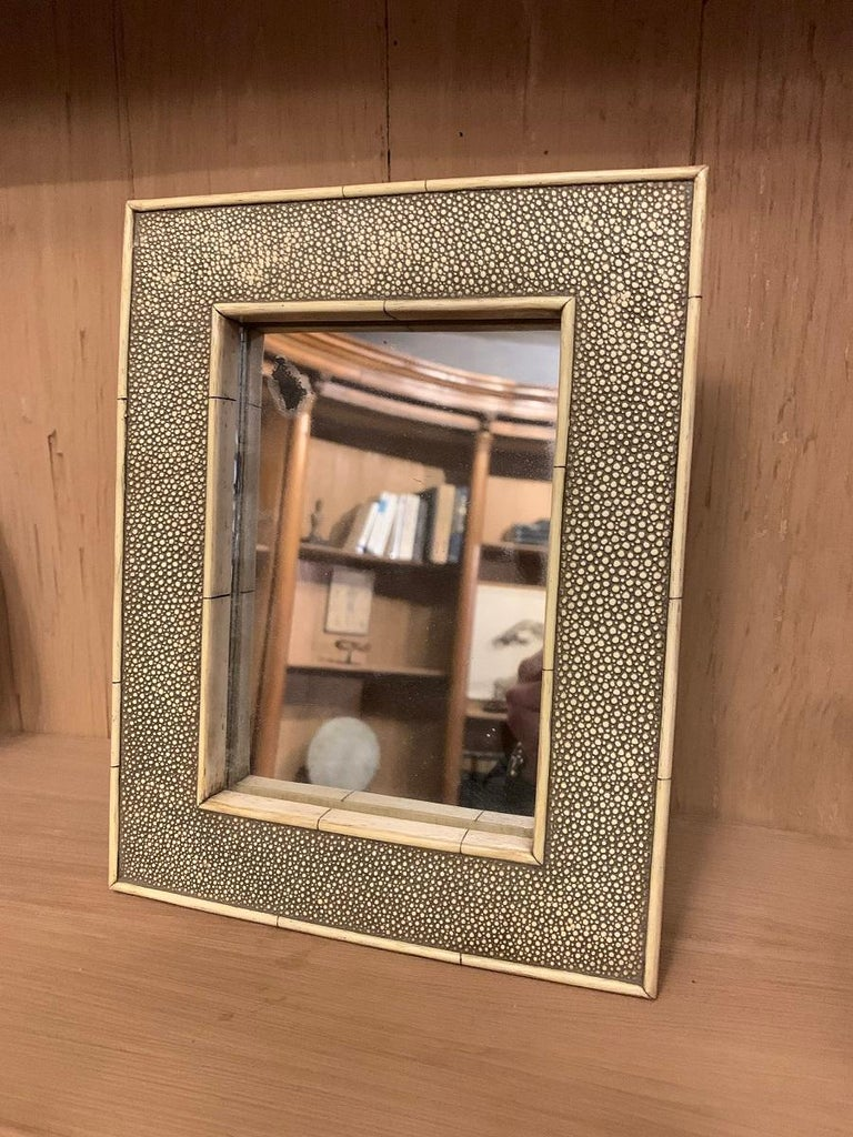 19th Century Shagreen and Bone Mirror For Sale 2