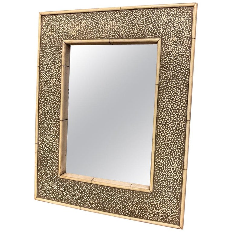 19th Century Shagreen and Bone Mirror For Sale