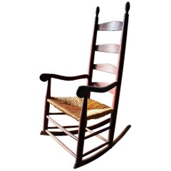 19th Century Shaker Rocker Old Red Paint Surface