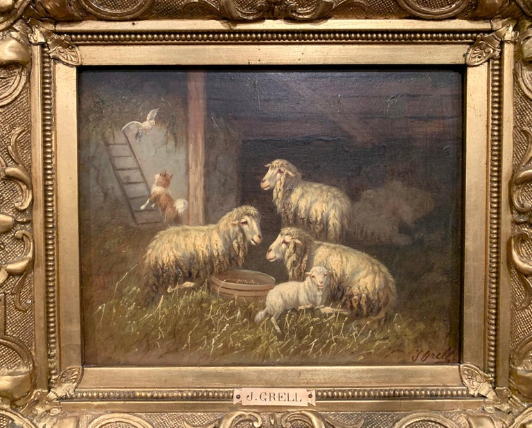 Set in the original carved giltwood frame, the oil painting on board was created in Austria circa 1890, the artwork is signed on the lower right by the artist Johanna Grell, embellished with a brass plaque bearing her name. The painting depicts a