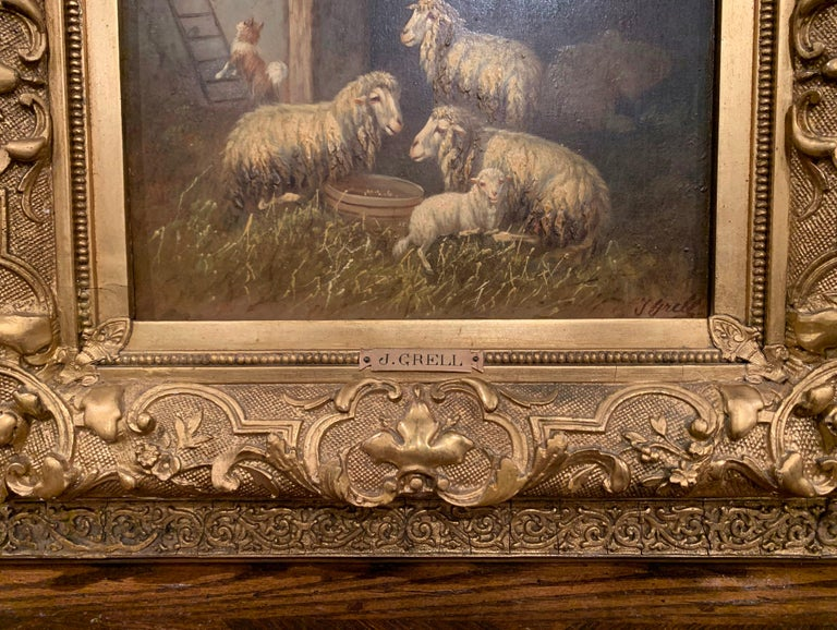 Austrian 19th Century Sheep and Ram Painting in Carved Gilt Frame Signed Johanna Grell For Sale