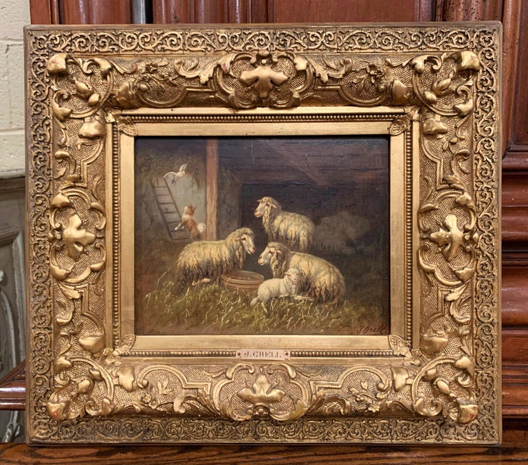 Hand-Painted 19th Century Sheep and Ram Painting in Carved Gilt Frame Signed Johanna Grell For Sale