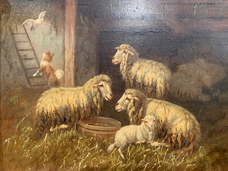 19th Century Sheep and Ram Painting in Carved Gilt Frame Signed Johanna Grell In Excellent Condition For Sale In Dallas, TX
