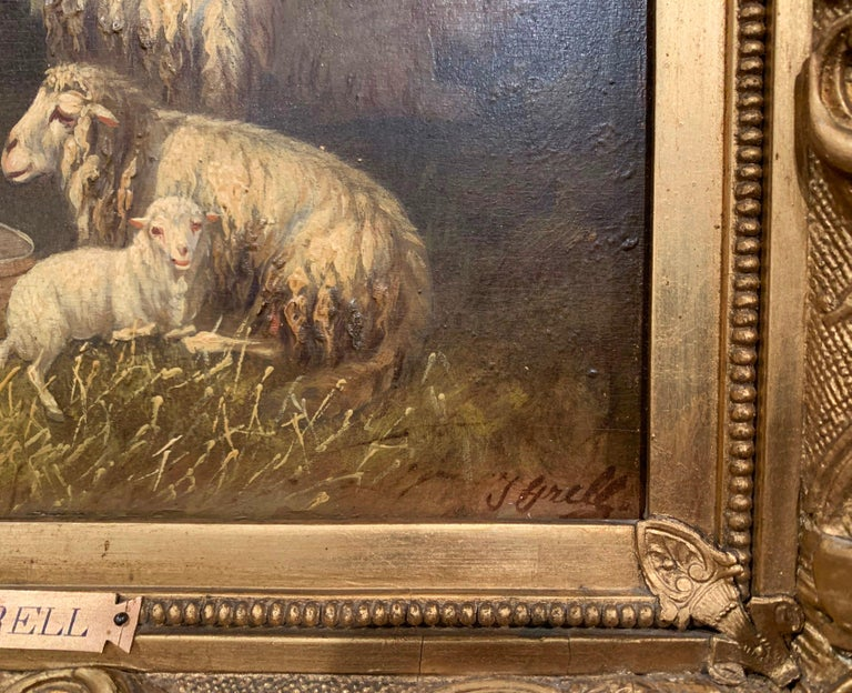 Giltwood 19th Century Sheep and Ram Painting in Carved Gilt Frame Signed Johanna Grell For Sale