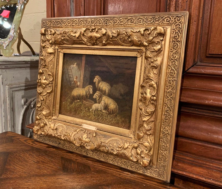 19th Century Sheep and Ram Painting in Carved Gilt Frame Signed Johanna Grell For Sale 1