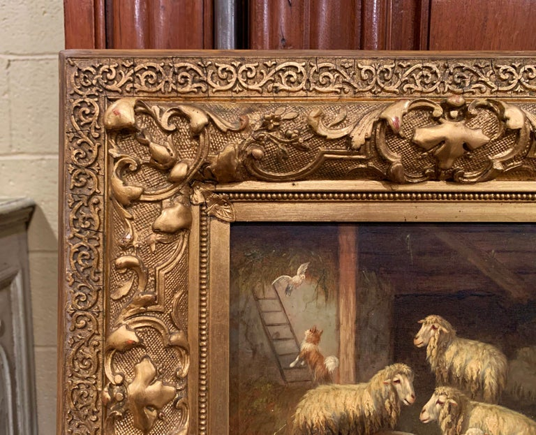 19th Century Sheep and Ram Painting in Carved Gilt Frame Signed Johanna Grell For Sale 2