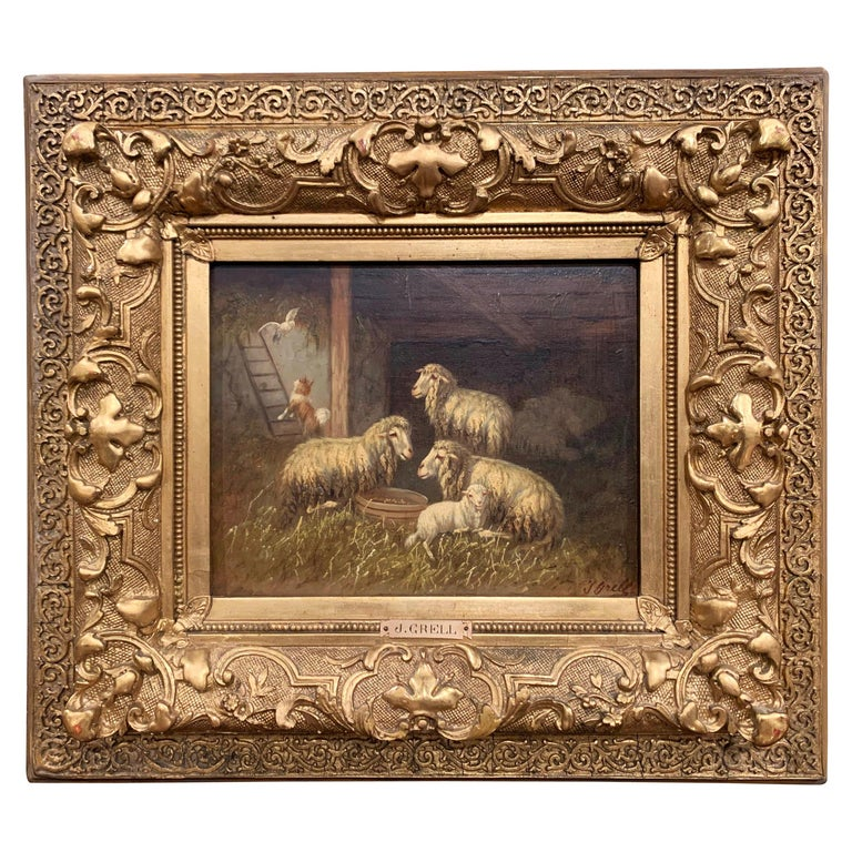 19th Century Sheep and Ram Painting in Carved Gilt Frame Signed Johanna Grell For Sale