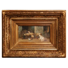 19th Century Sheep Painting in Carved Gilt Frame Signed J. Scholaerts