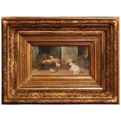 19th Century Sheep Painting in Carved Giltwood Frame Signed J. Scholaerts