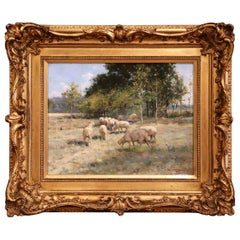 19th Century Sheep Painting in Carved Giltwood Frame Signed R. L. Johnston