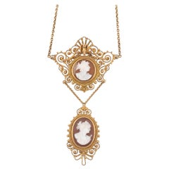 19th Century Shell Cameo Necklace