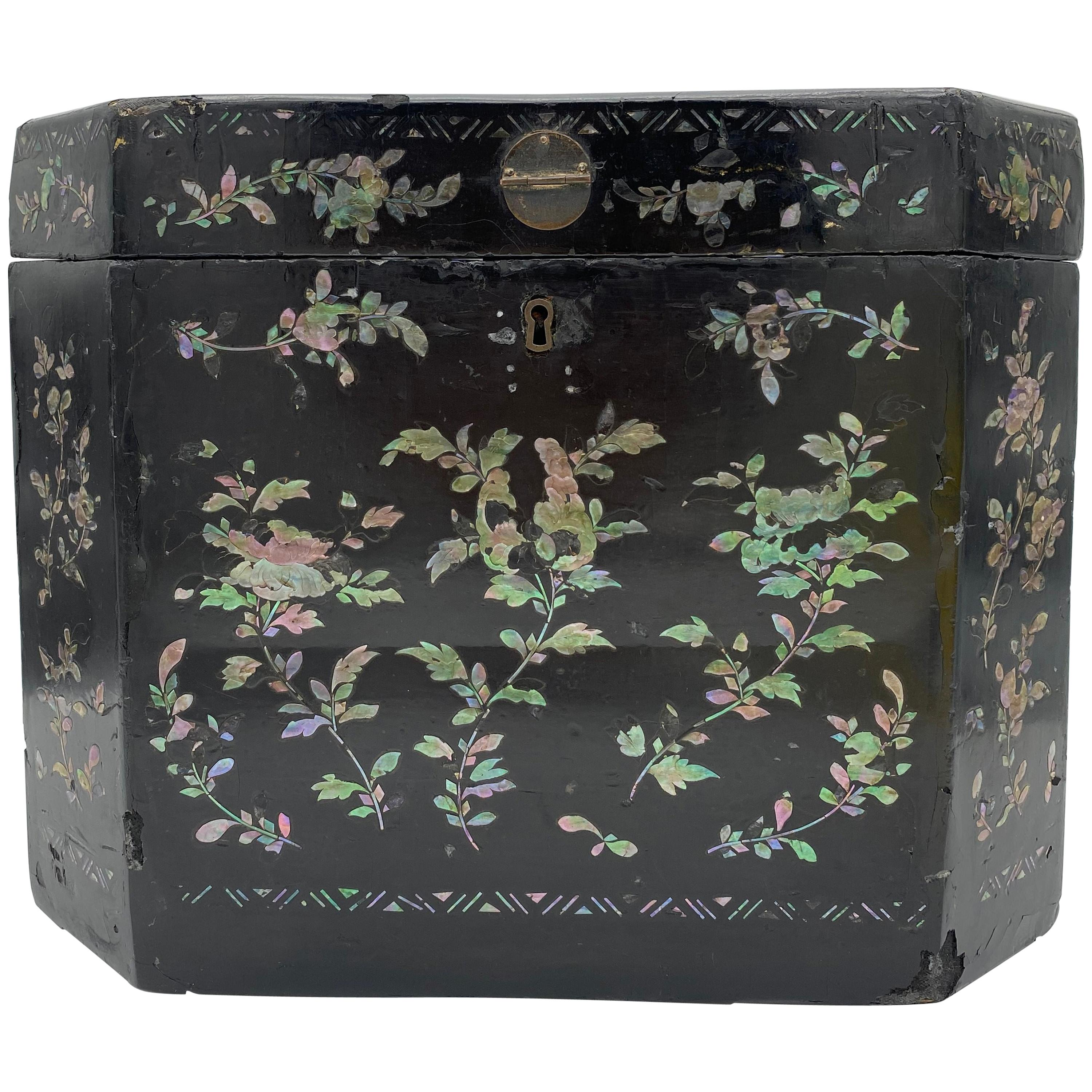 "19th Century Shell Inlaid Black Lacquer Big Chinese Chest Labled  ""Sunshing"""