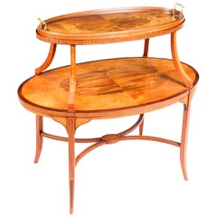 19th Century Sheraton Revival Satinwood and Marquetry Étagère Tray Table