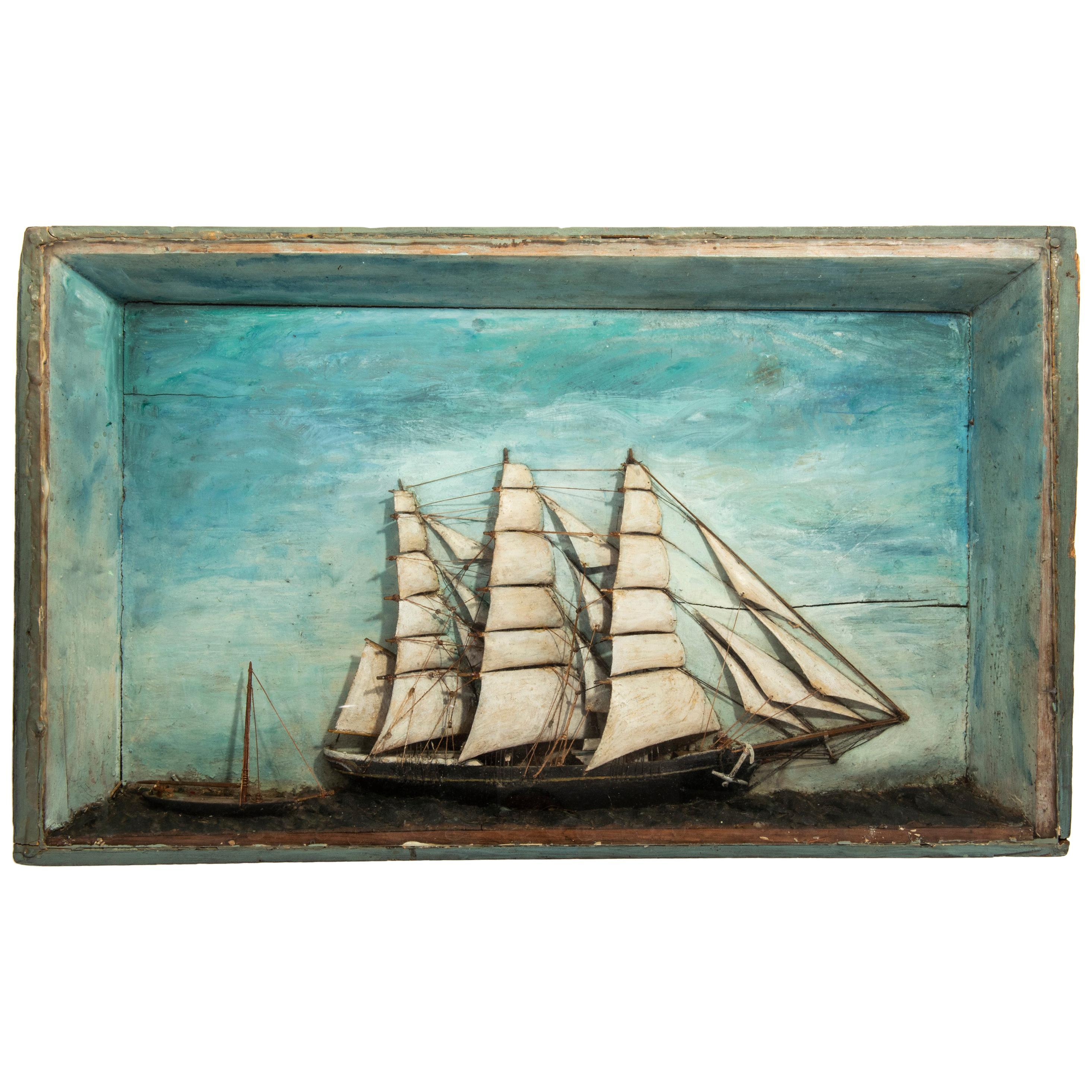 19th Century Ship Diorama, England, circa 1890