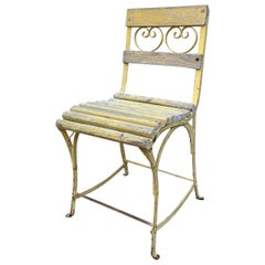 19th Century Side Handmade Garden Table Chairs Furniture Iron & Wood Antique, LA