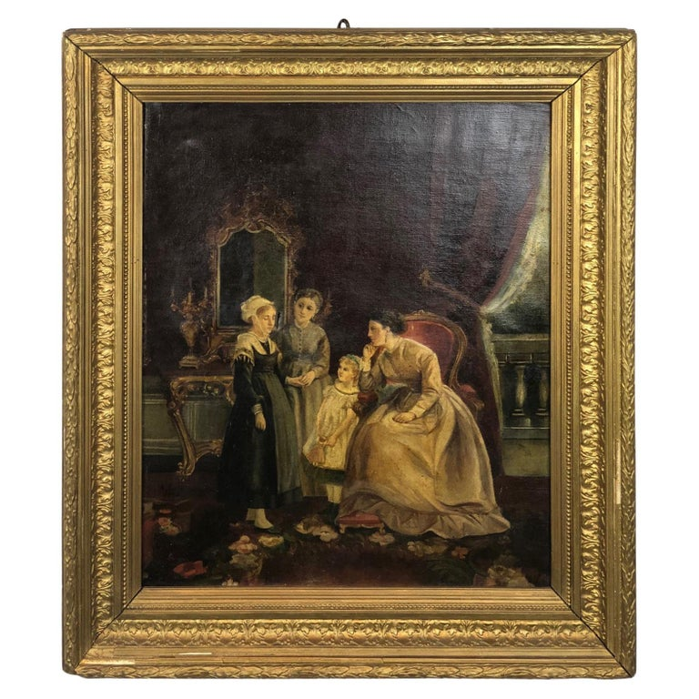 19th Century Signed and Dater Flamand School Painting For Sale