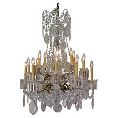 19th Century Signed Baccarat Crystal French Chandelier Eighteen Lights