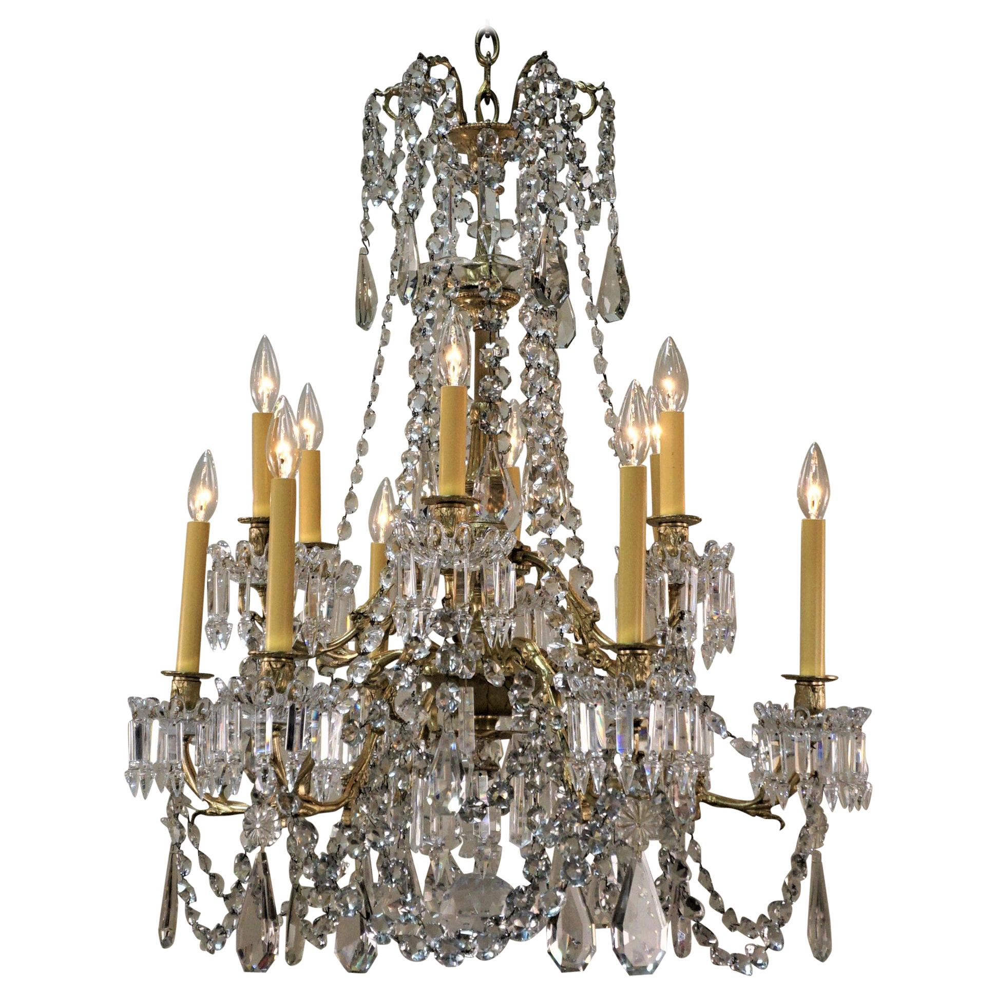 19th Century Signed Baccarat Crystal French Chandelier