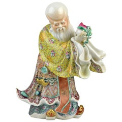 19th Century Signed Chinese Porcelain Famille Rose Statue of Shou Lao