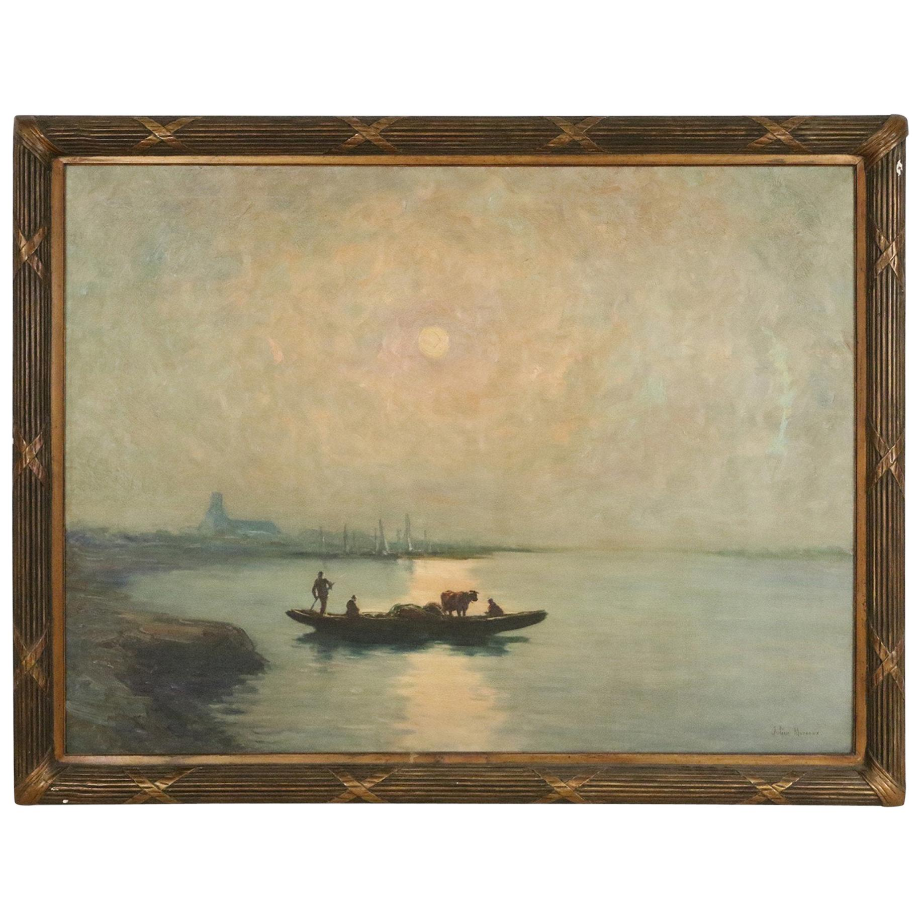 19th Century Signed French Painting of a Seascape in a Giltwood Frame