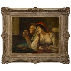 19th Century Signed H. Fournel Oil on Canvas Titled 'a difficult task'