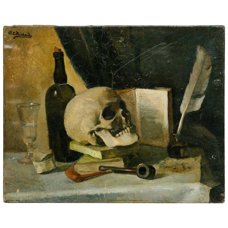 19th Century Signed Orren C. Richard Skull Still Life Oil Painting For Sale