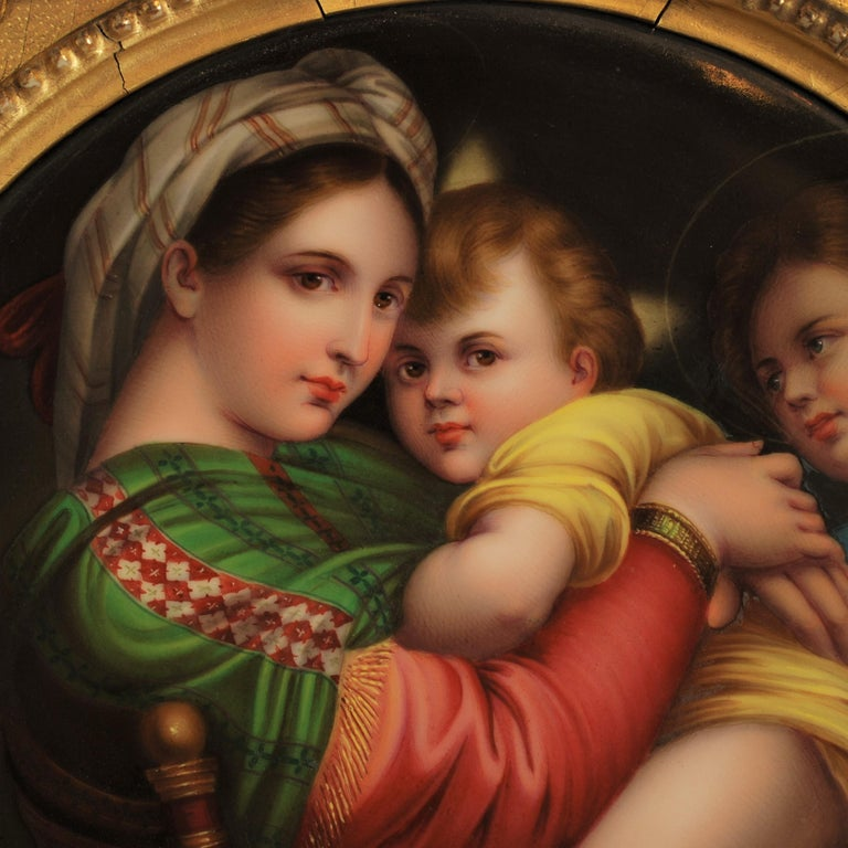 German 19th Century Signed Porcelain Plaque after Madonna Della Seggiola by Raphael For Sale