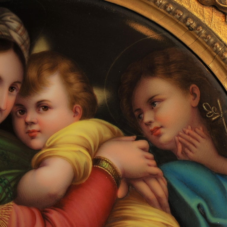 Hand-Painted 19th Century Signed Porcelain Plaque after Madonna Della Seggiola by Raphael For Sale